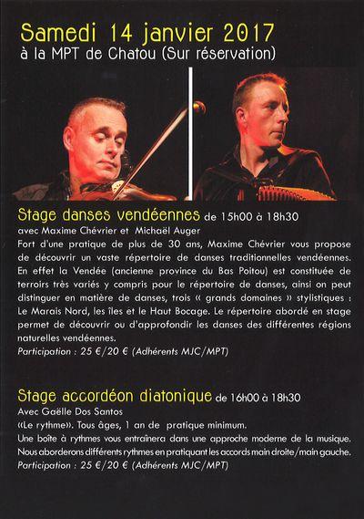 9ème WEEK-END TRAD, samedi 14/01/17 à la MPT, dimanche 15/01/17 à la MJC K'Bane à Boukan de la Celle Saint-Cloud